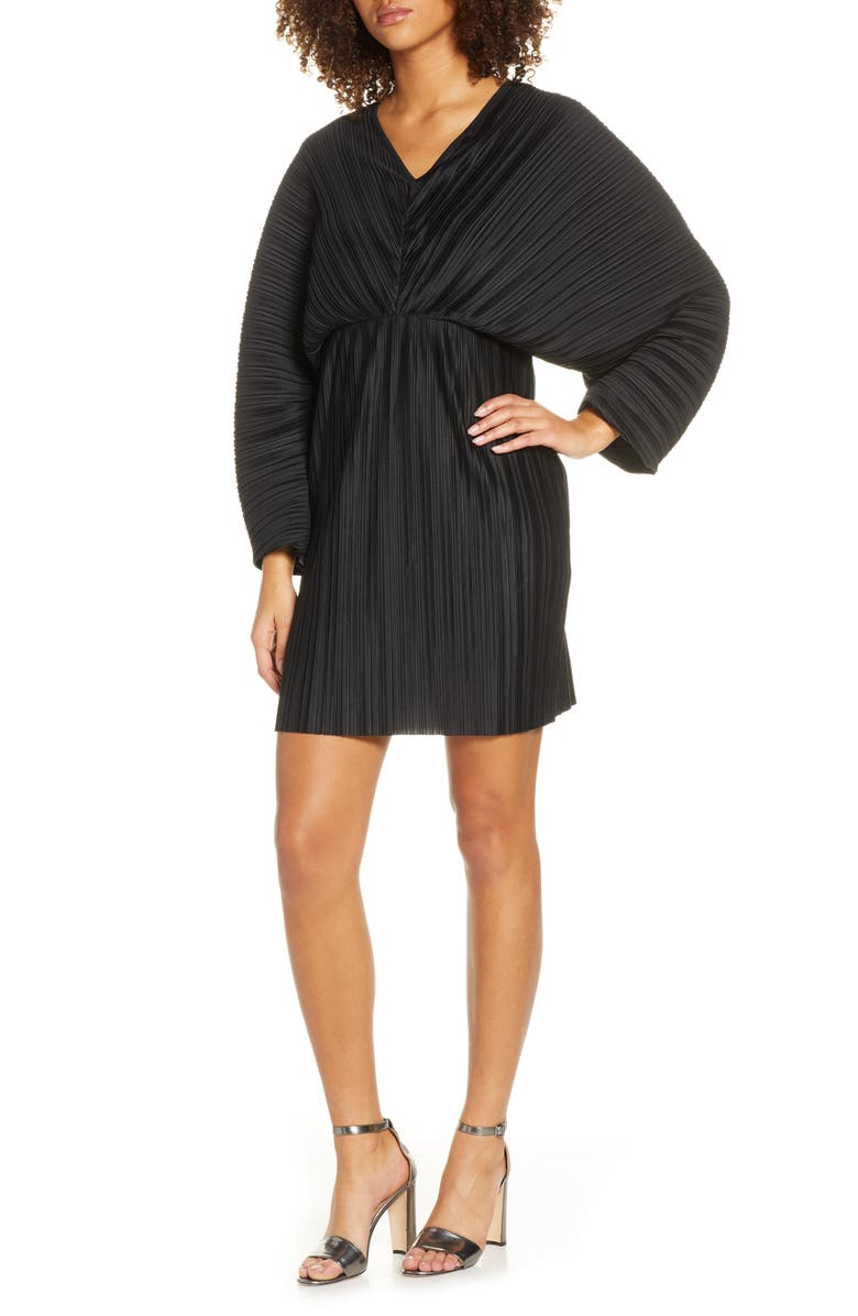 FRENCH CONNECTION Long Sleeve Crinkle Pleat Cocktail Dress, Main, color, BLACK