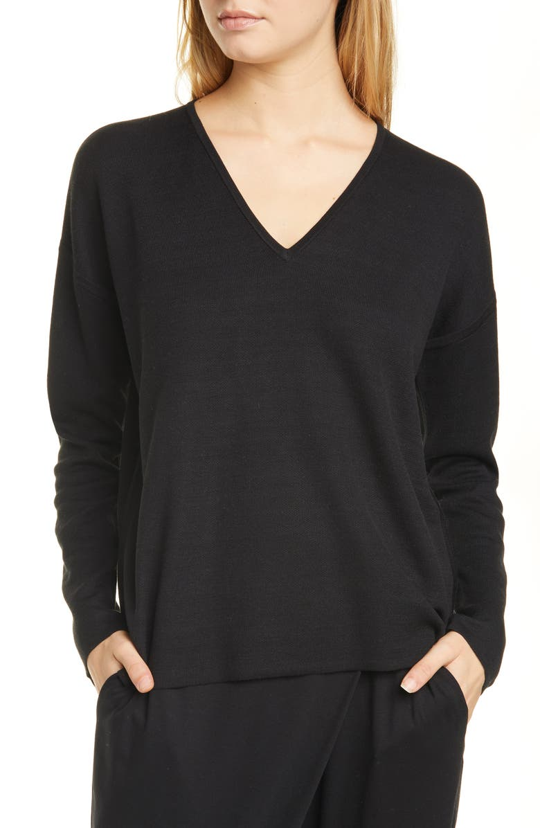 EILEEN FISHER Silk Blend Pullover, Main, color, BLACK