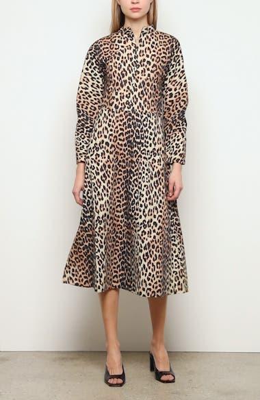 Leopard Print Long Sleeve Poplin Midi Dress, video thumbnail