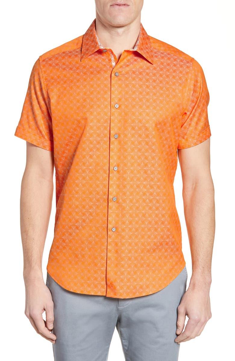 ROBERT GRAHAM Diamante Classic Fit Shirt, Main, color, ORANGE