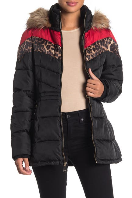 Image of Nine West Faux Fur Trim Quilted Colorblock Jacket