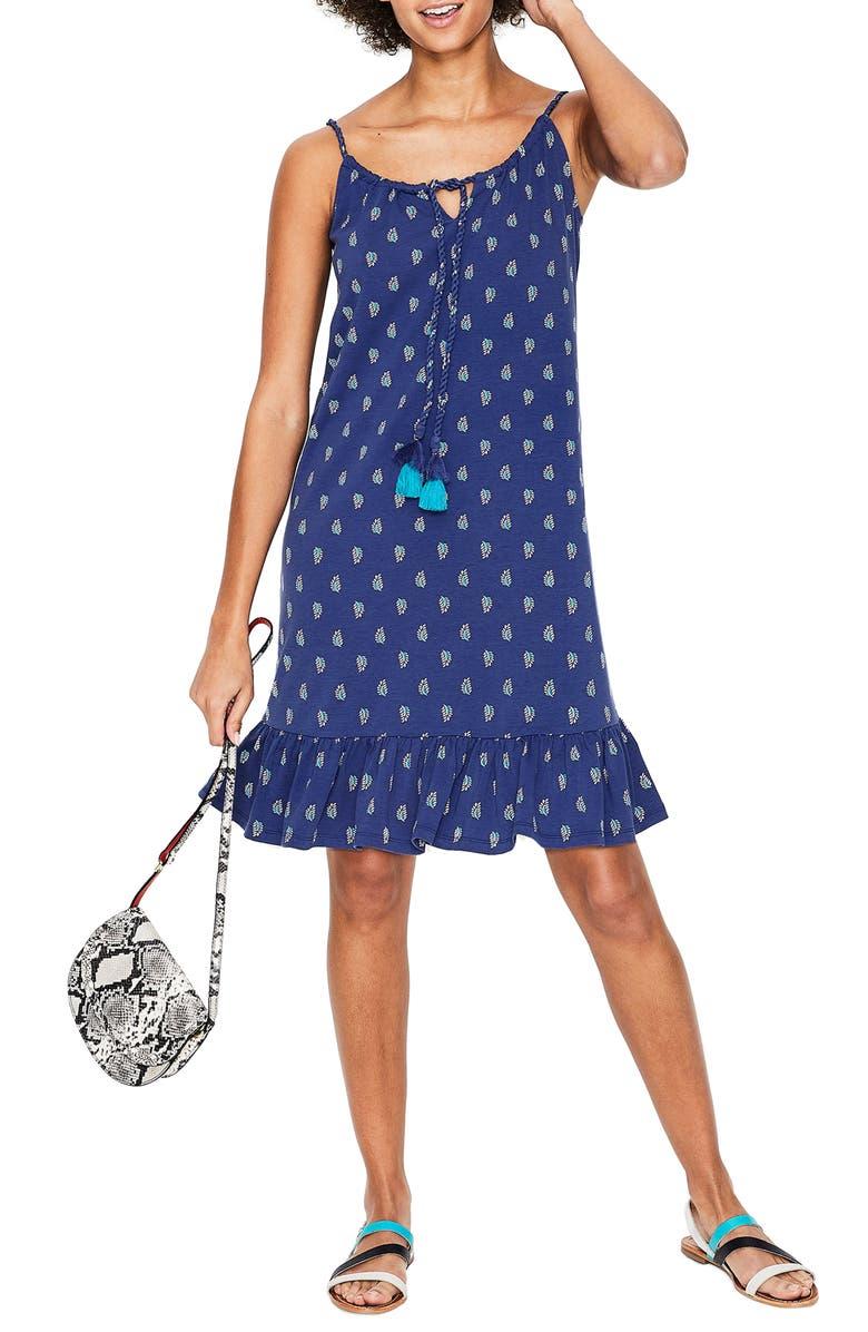 BODEN Sophia Print Cotton Blend Jersey Minidress, Main, color, LAPIS PALM STAMP