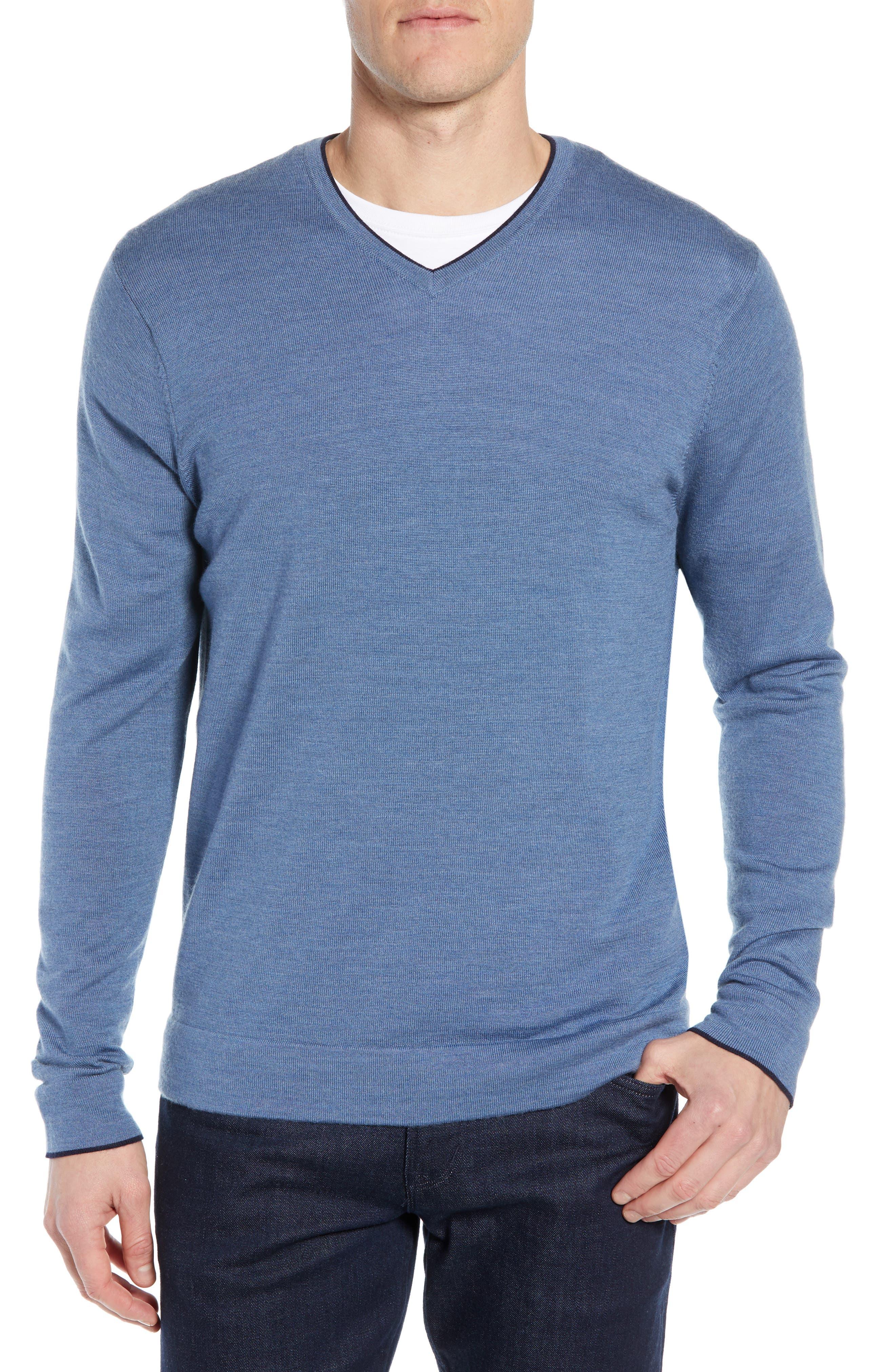 Nordstrom Signature Varsity Merino Wool Blend V-Neck Sweater, Burgundy