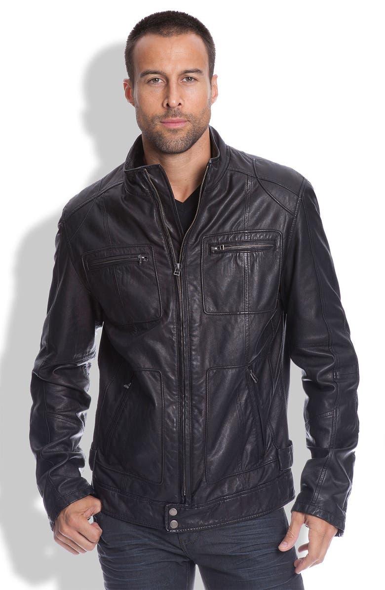 7 DIAMONDS 'Montreal' Trim Fit Leather Jacket, Main, color, 001