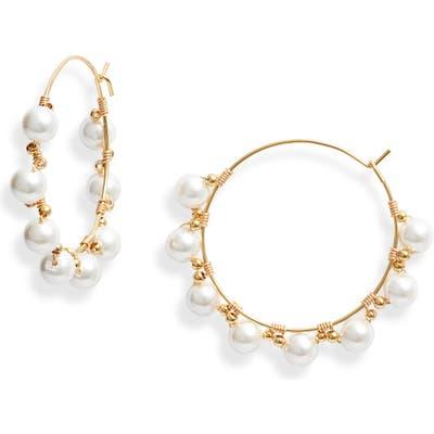 Bracha Bonjour Imitation Pearl Hoop Earrings