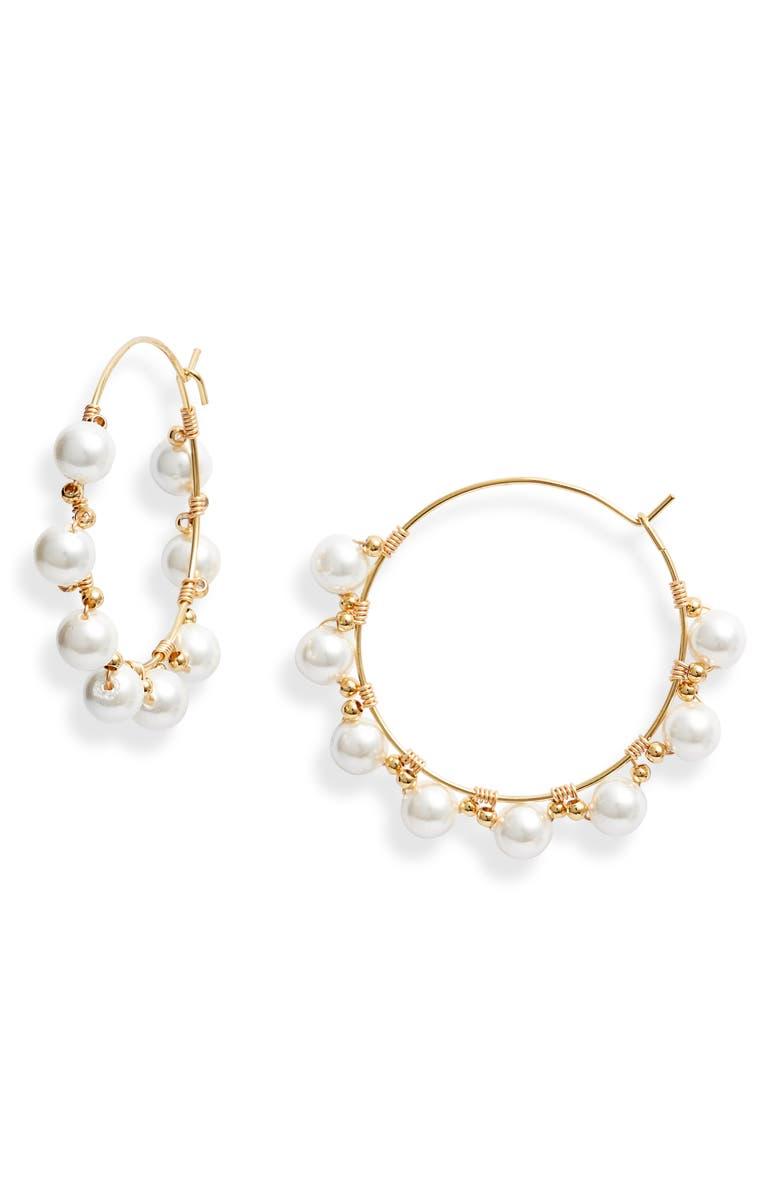 BRACHA Bonjour Imitation Pearl Hoop Earrings, Main, color, 710