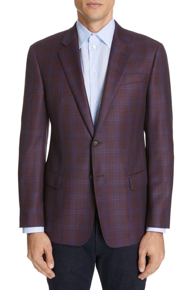 EMPORIO ARMANI Trim Fit Plaid Wool Sport Coat, Main, color, 930