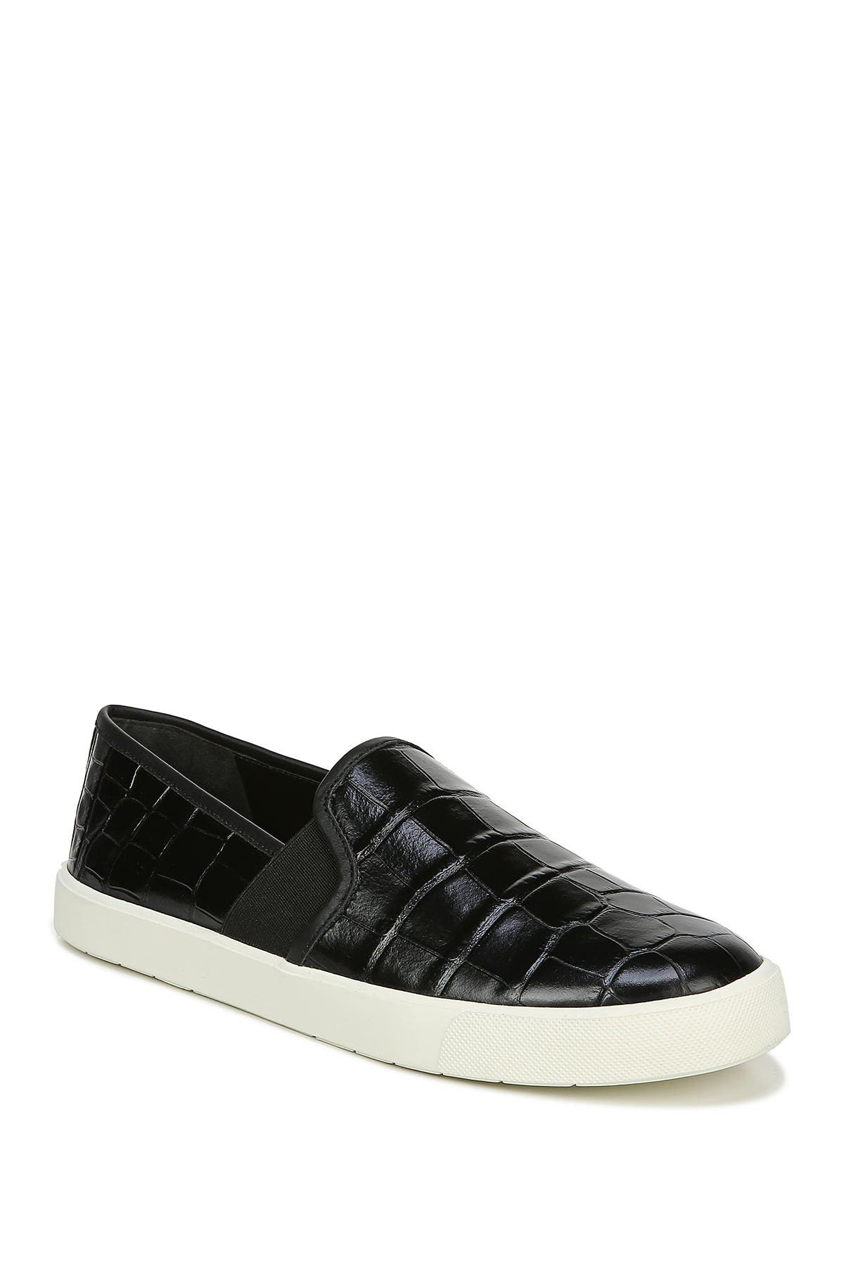 Image of Vince Preston Croc Embossed Leather Slip-On Sneaker