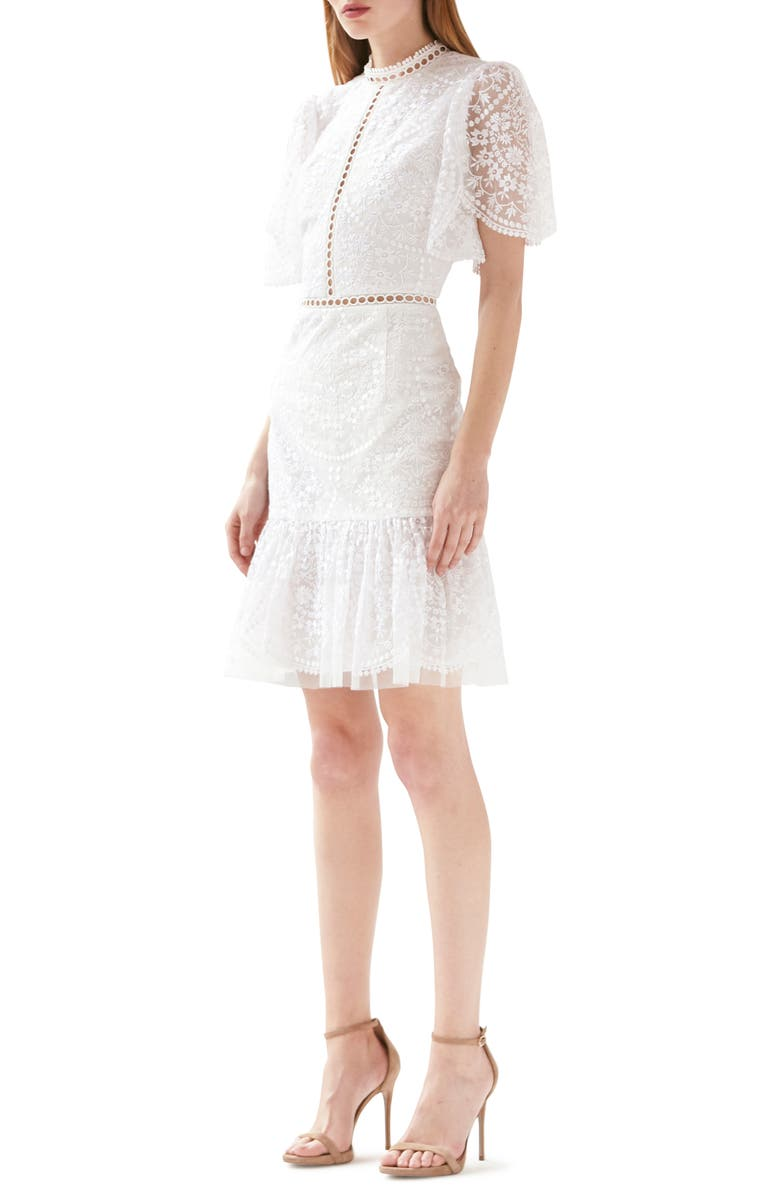 ML MONIQUE LHUILLIER Floral Embroidered Cocktail Dress, Main, color, 100