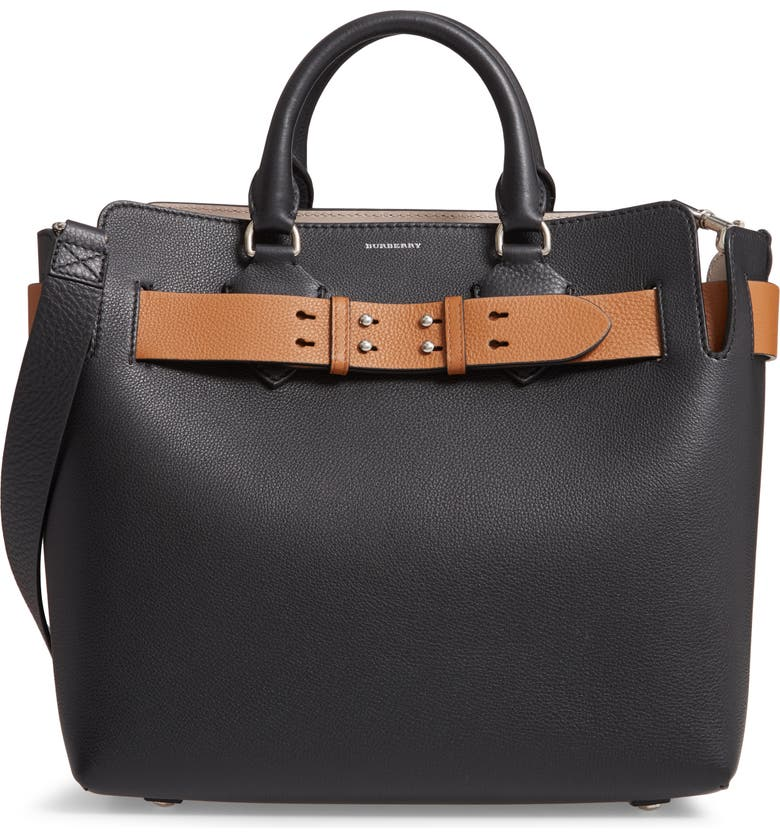 BURBERRY Medium Belt Triple Stud Leather Tote, Main, color, BLACK/ BROWN