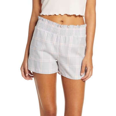 Bp. X Claudia Sulewski Classic Flannel Pajama Shorts, Grey