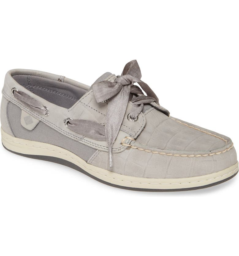SPERRY Songfish Boat Shoe, Main, color, GREY NUBUCK LEATHER