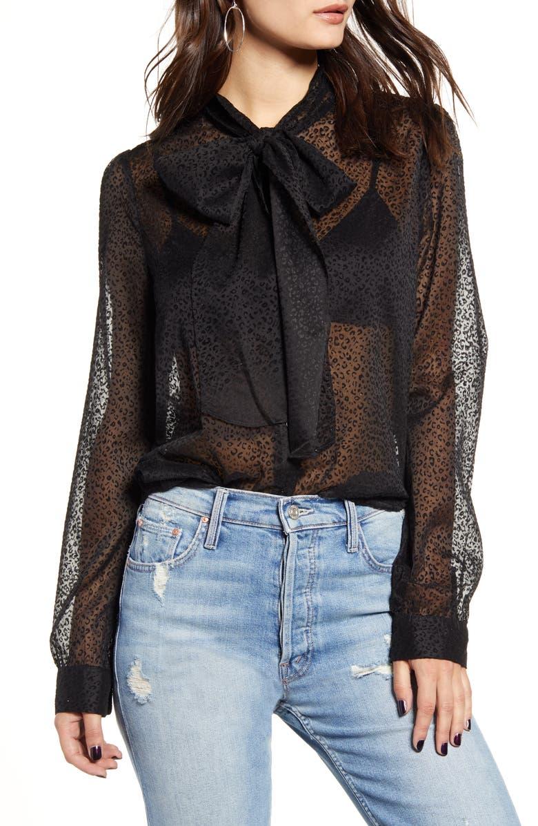 ENDLESS ROSE Leopard Print Front Tie Velvet Burnout Blouse, Main, color, BLACK