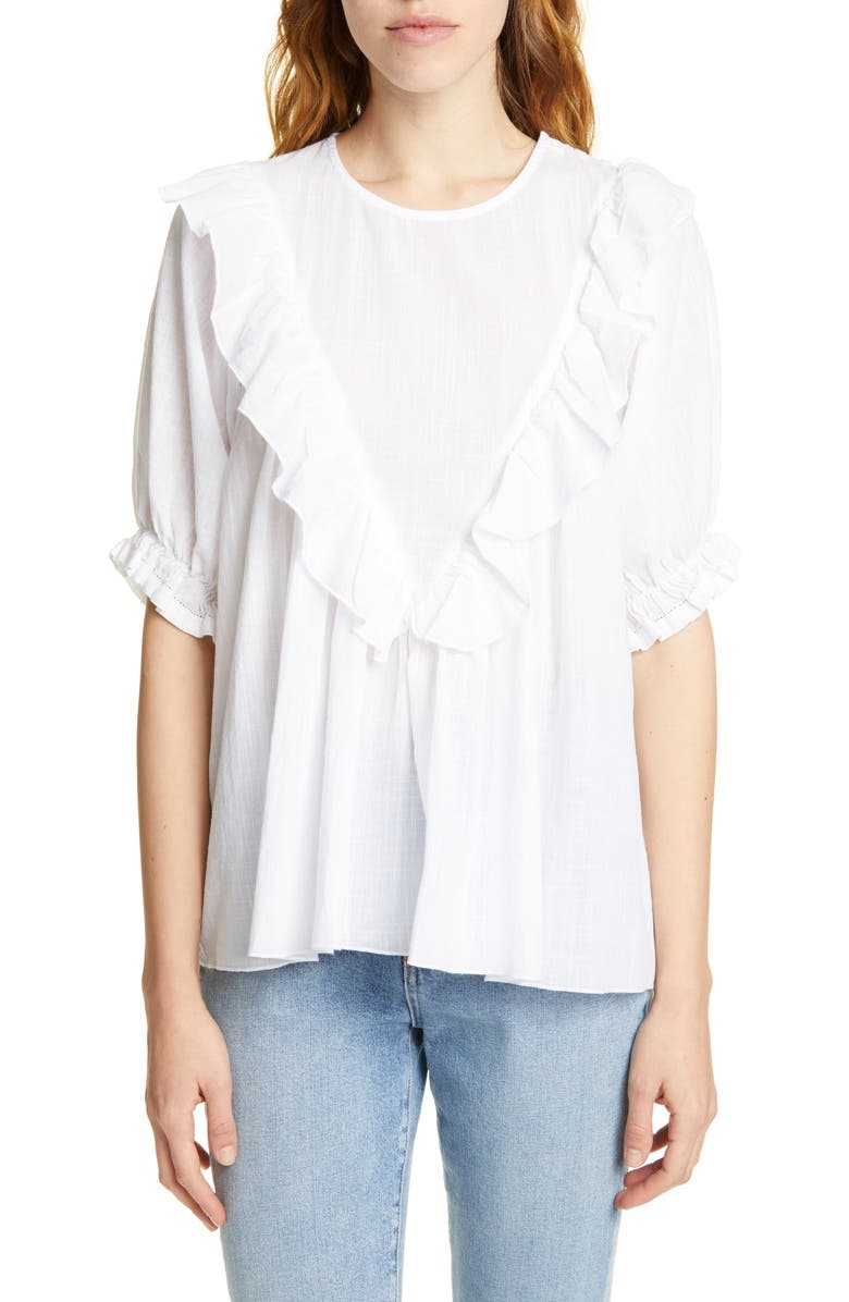 THE GREAT. Ruffle Triangle Bib Blouse, Main, color, WHITE