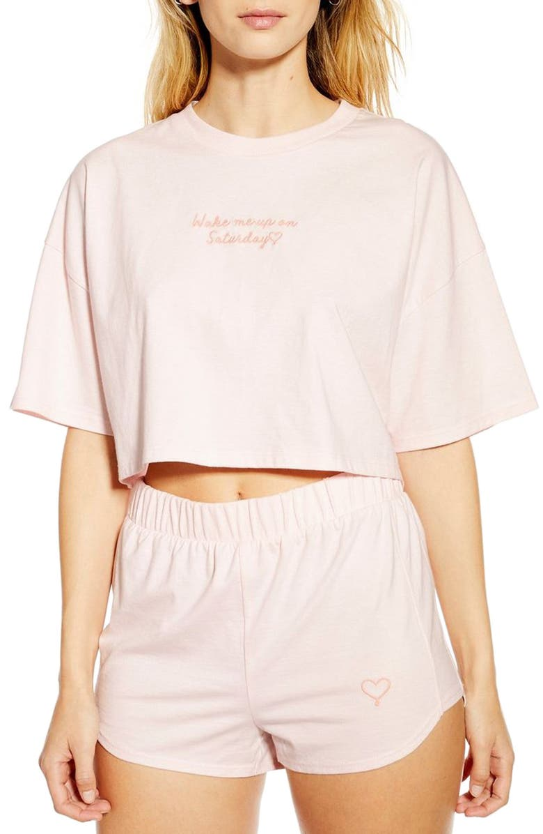 TOPSHOP Embroidered Graphic Crop Pajamas, Main, color, 650