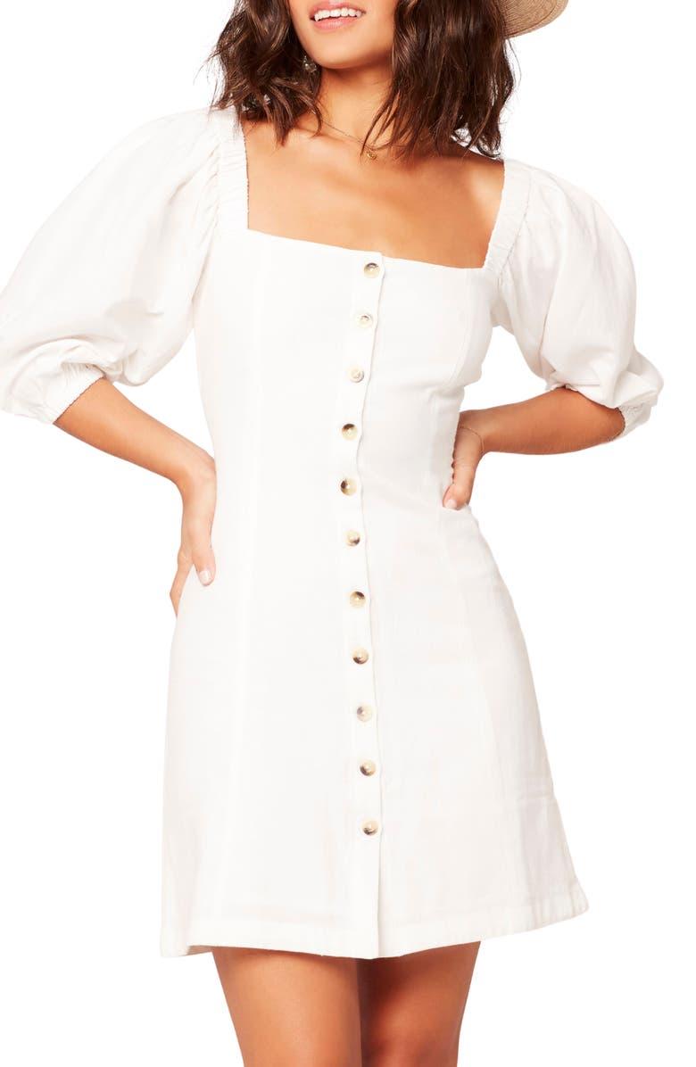 L SPACE Marina Button Front Dress, Main, color, WHT