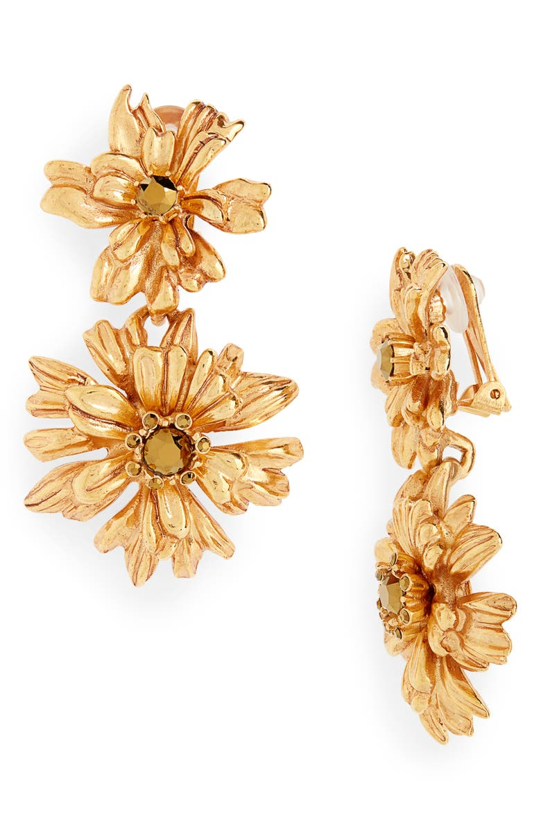 OSCAR DE LA RENTA Crystal Flower Drop Earrings, Main, color, GOLD