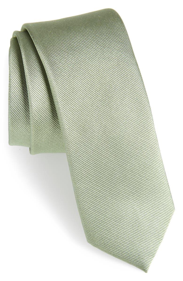 THE TIE BAR Solid Silk Tie, Main, color, SAGE GREEN