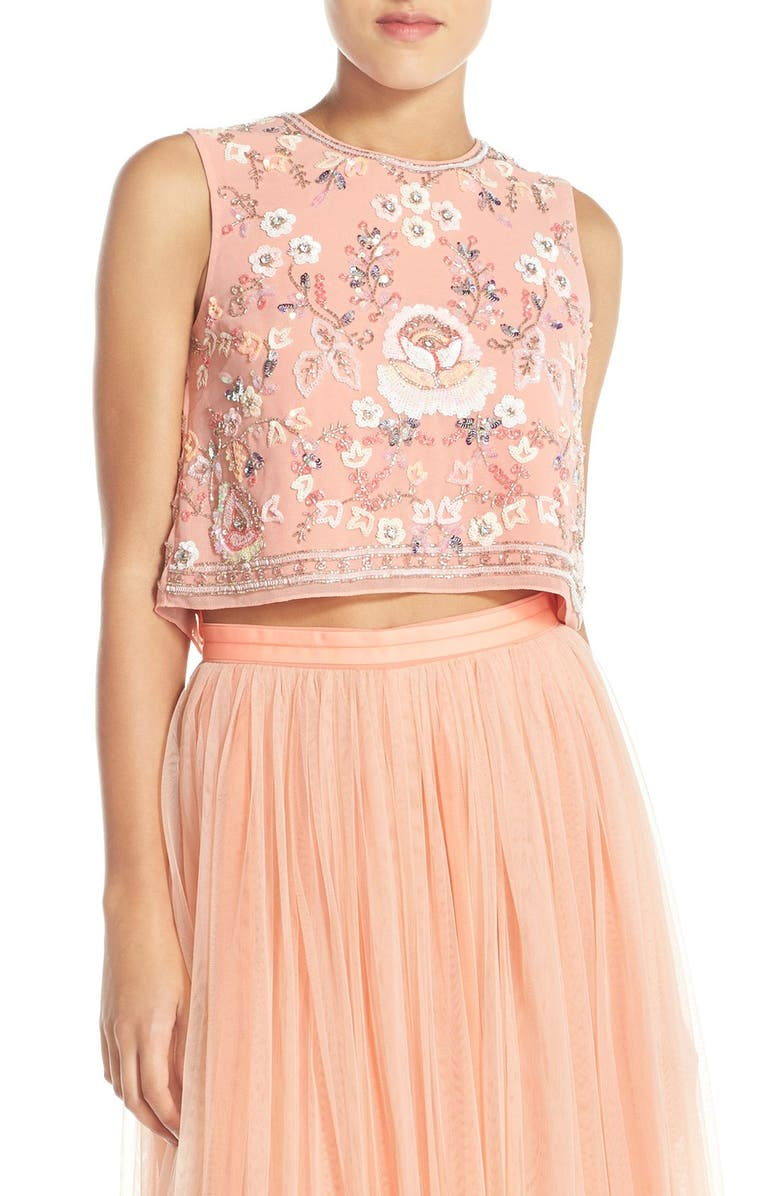 NEEDLE & THREAD Floral Embellished Crop Top, Main, color, 651