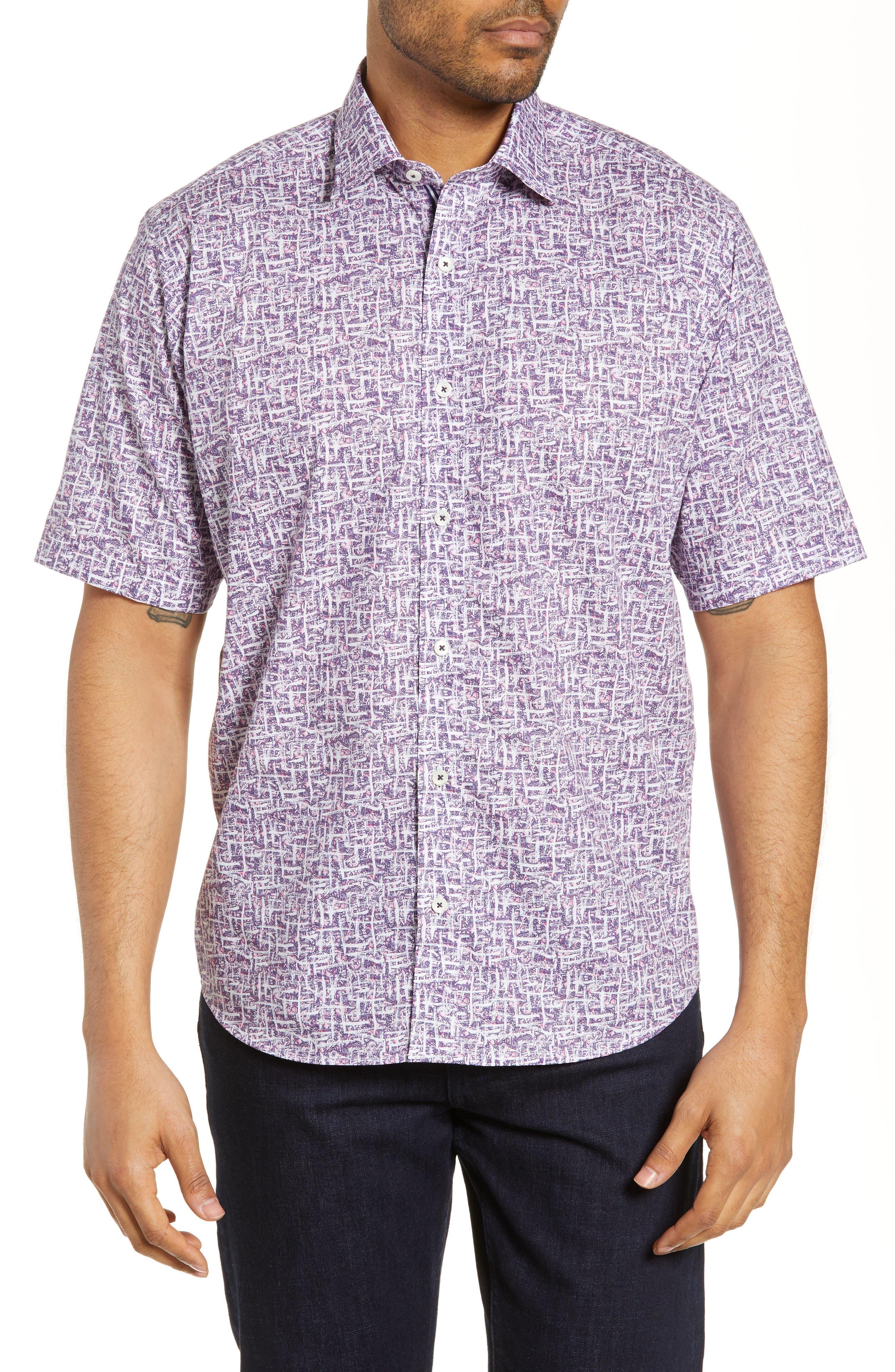 men's bugatchi classic fit abstract print shirt