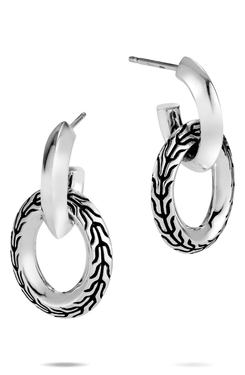JOHN HARDY Classic Chain Knife Edge Drop Earrings, Main, color, SILVER