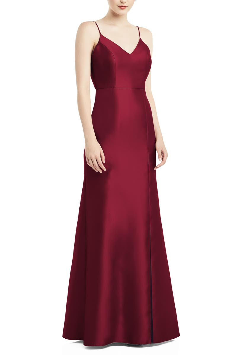 ALFRED SUNG Bow Back Satin Twill Trumpet Gown, Main, color, BURGUNDY