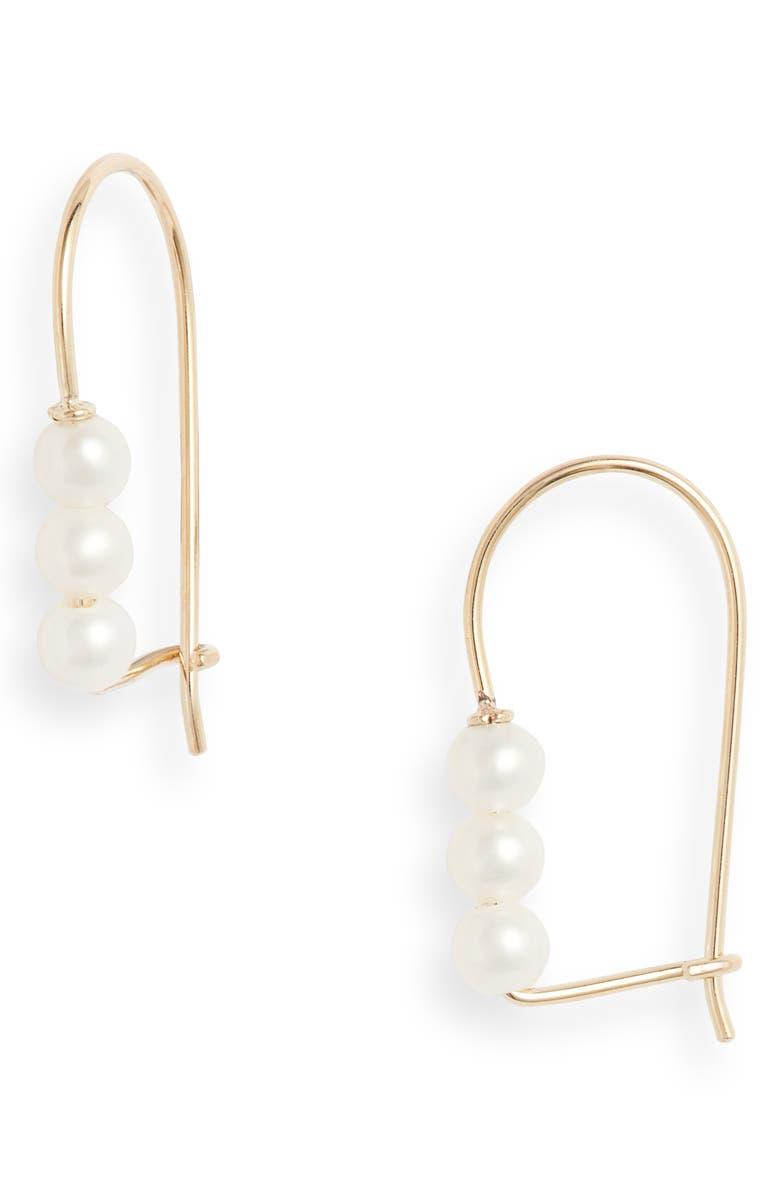 POPPY FINCH Triple Baby Pearl Linear Earrings, Main, color, 710