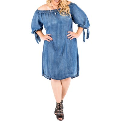 Plus Size Standards & Practices Julie Off The Shoulder Denim Dress, Blue