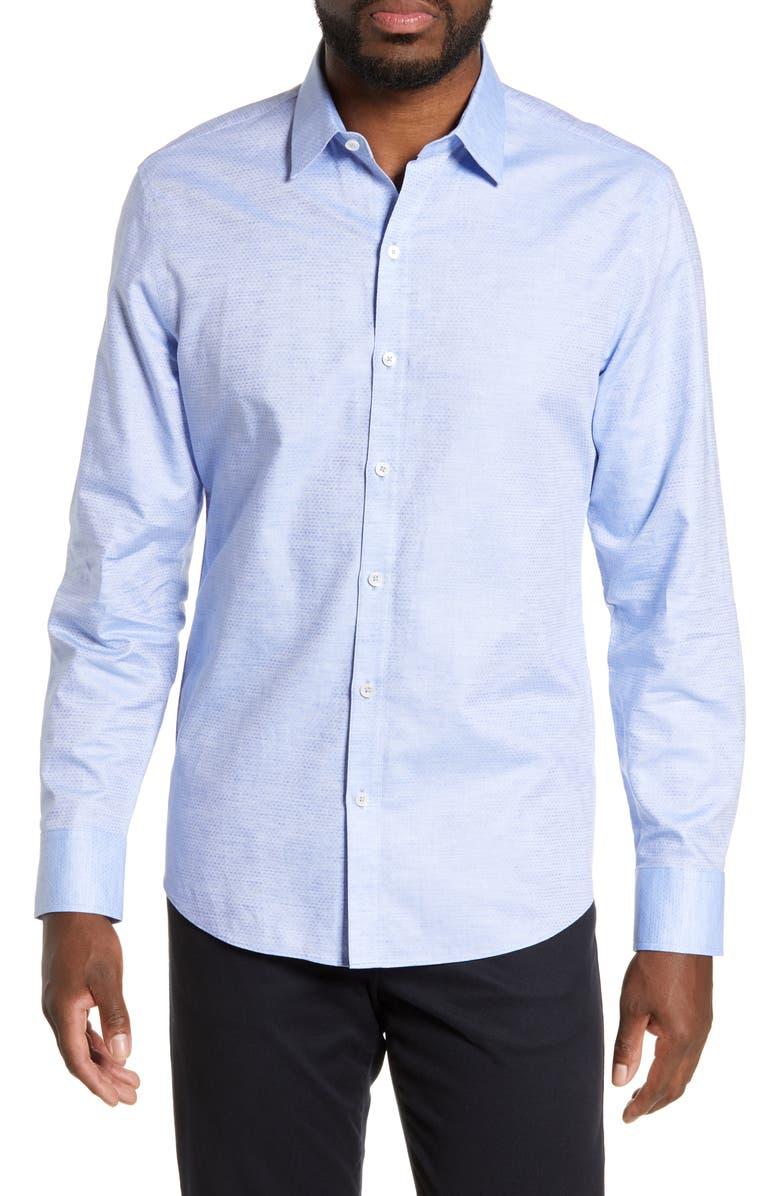 ZACHARY PRELL Alfano Regular Fit Cotton & Linen Shirt, Main, color, LT BLUE