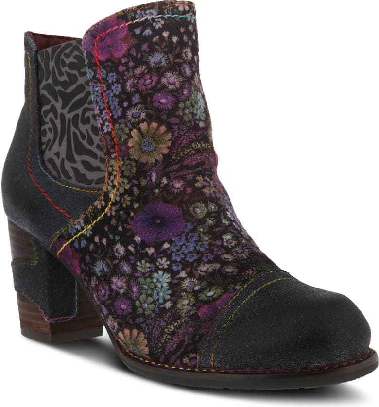 L'ARTISTE Melvina Bootie, Main, color, NAVY MULTI LEATHER