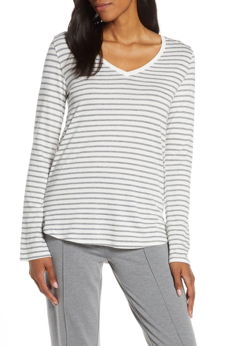 JOE'S Stripe Long Sleeve Sleep Tee, Main, color, GRAY STRIPE