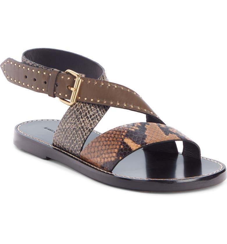 ISABEL MARANT Juzee Cross Strap Sandal, Main, color, TAUPE/ CAMEL