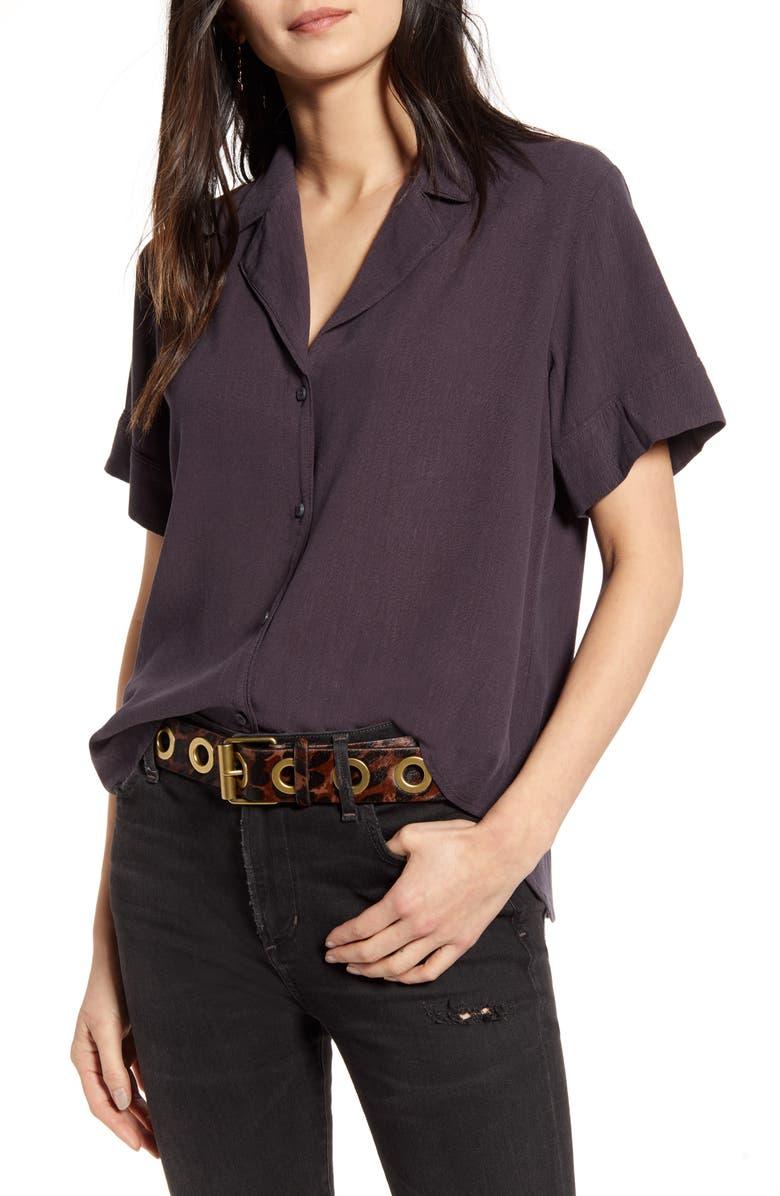 TREASURE & BOND Textured Camp Shirt, Main, color, GREY FORGED