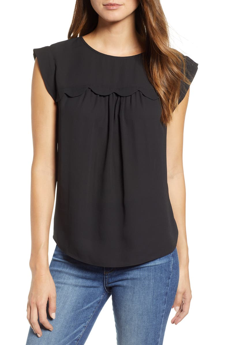 &.LAYERED Scallop Trim Sleeveless Blouse, Main, color, 001