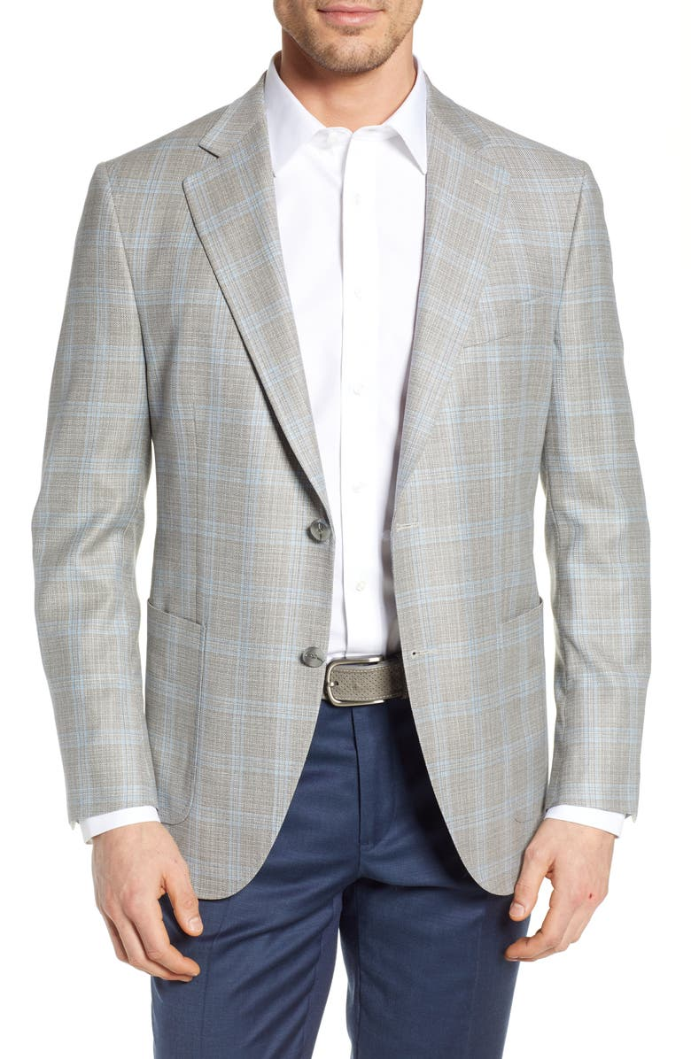 PETER MILLAR Hyperlight Classic Fit Plaid Sport Coat, Main, color, NATURAL