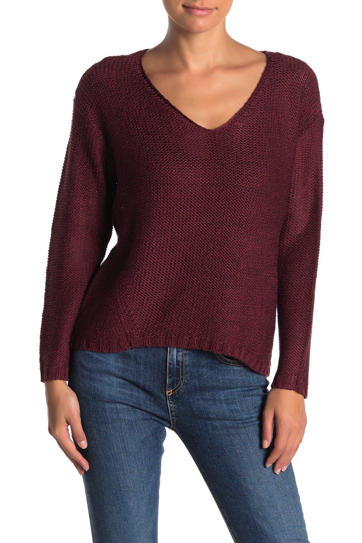 Image of Modern Designer Elbow Patch Knit V-Neck Sweater