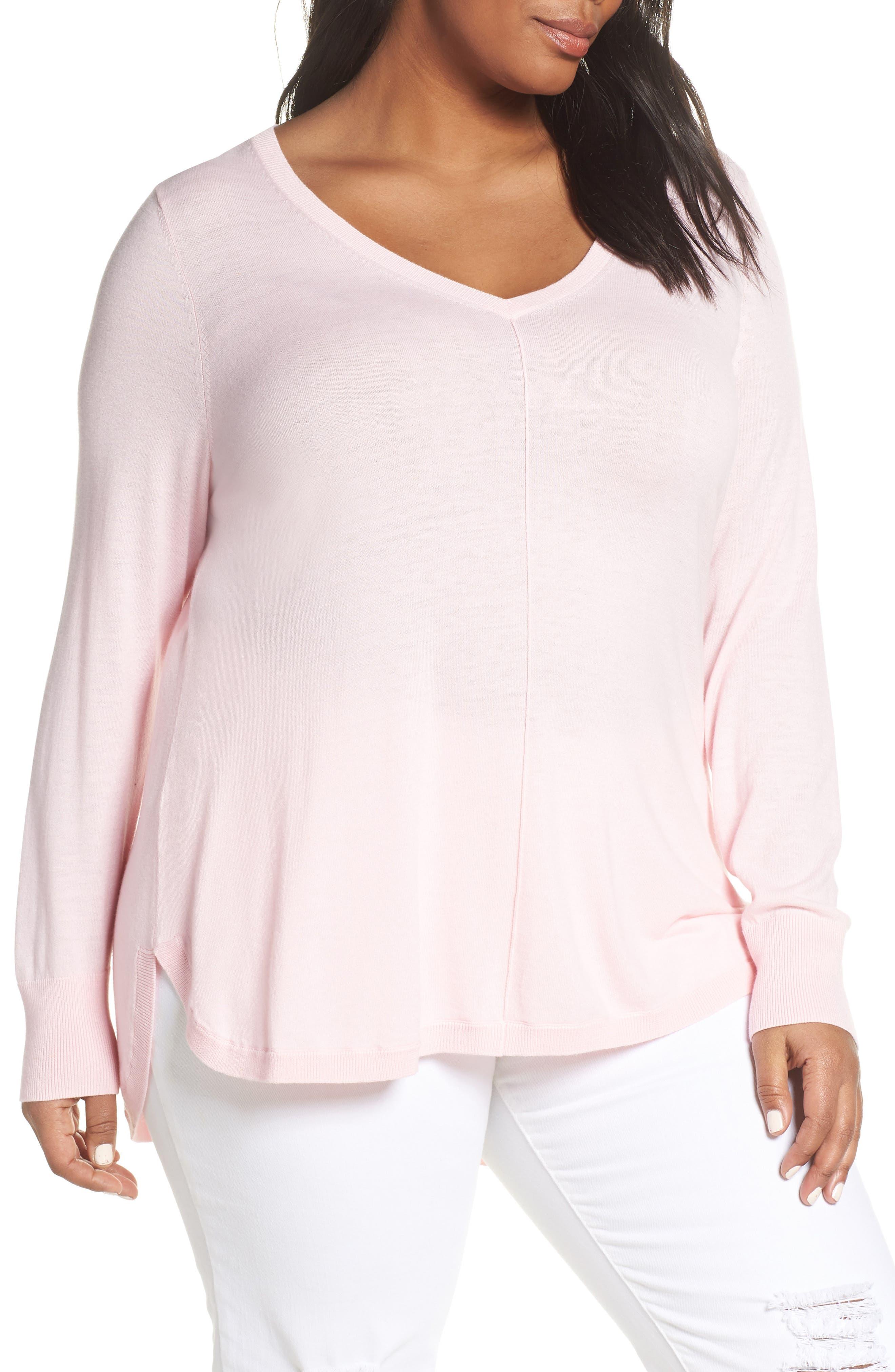 Plus Size Caslon Marled V-Neck Sweater, Pink