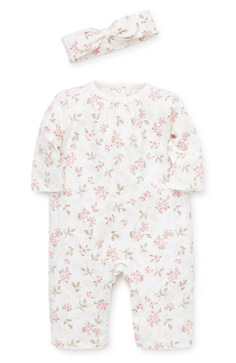 LITTLE ME Floral Romper & Headband Set, Main, color, PINK