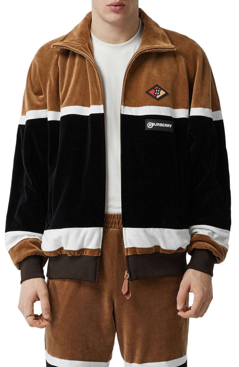 BURBERRY Logo Graphic Stripe Velour Track Jacket, Main, color, BROWN