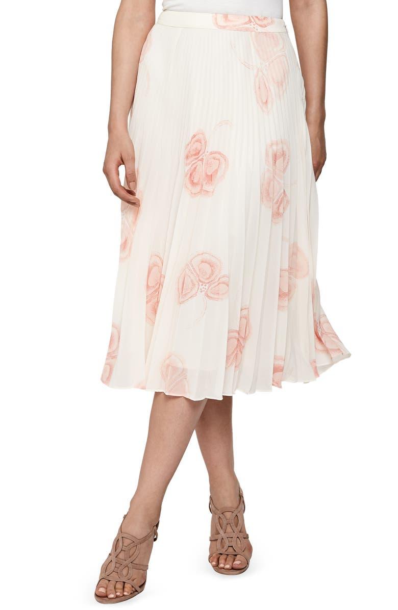 REISS Aya Print Pleated Skirt, Main, color, MULTI