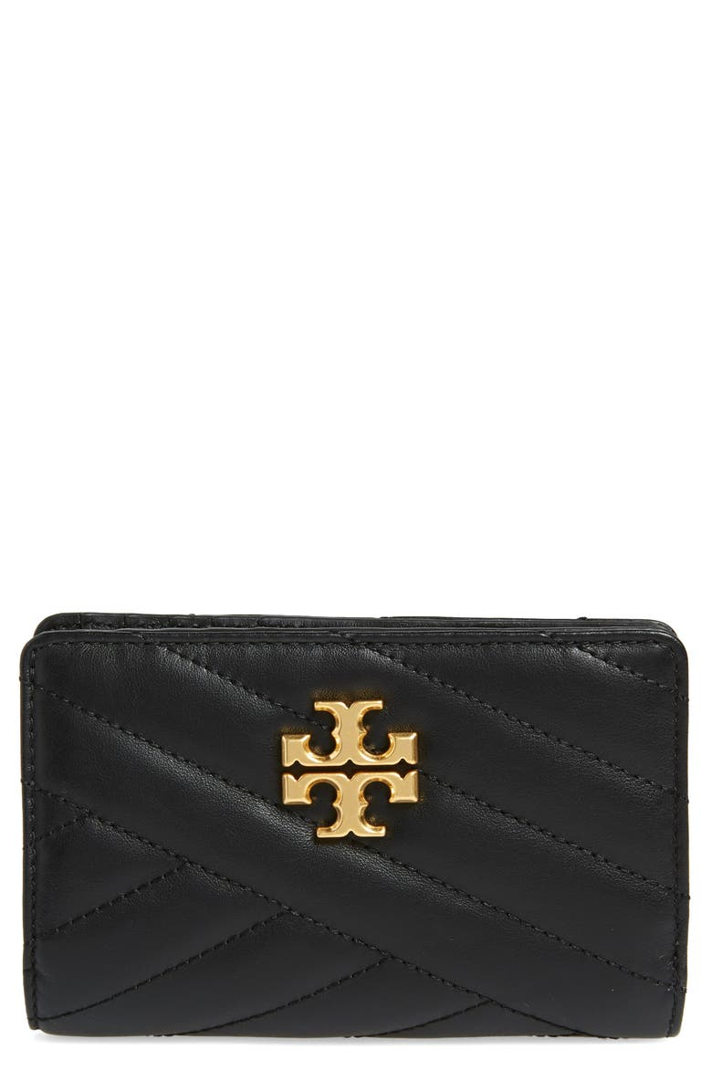 TORY BURCH Medium Kira Quilted Leather Wallet, Main, color, BLACK