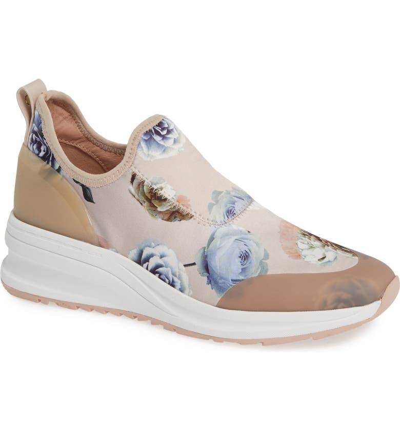 TARYN ROSE Zabella Slip-On Sneaker, Main, color, PINK ROSE PRINTED SATIN