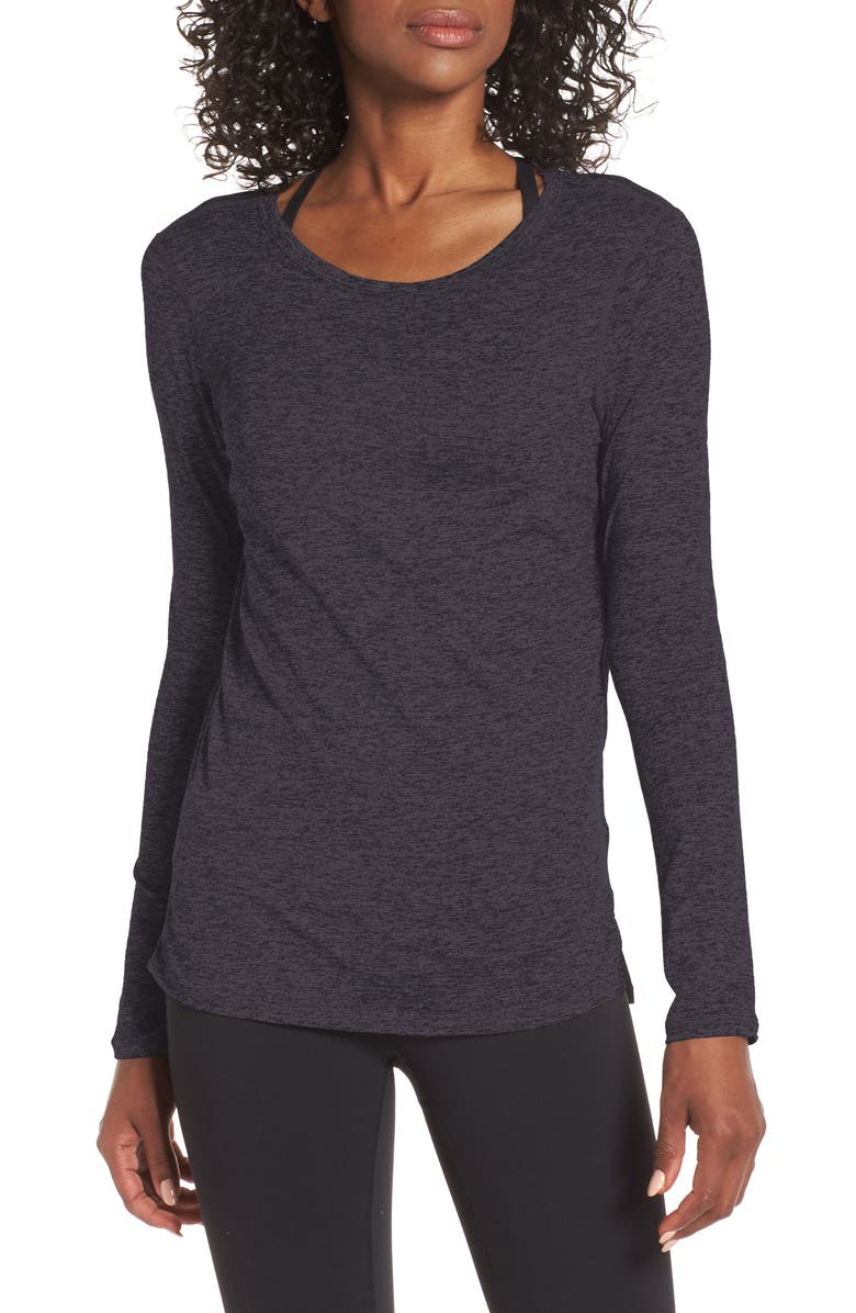 ZELLA Liana Long Sleeve Recycled Blend Performance T-Shirt, Main, color, BLACK SHADE