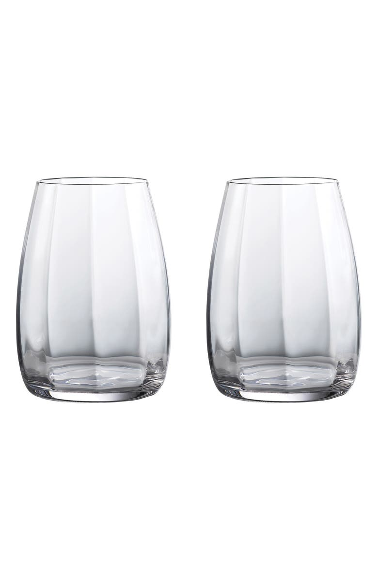 WATERFORD Elegance Optic Set of 2 Lead Crystal Double Old Fashioned Glasses, Main, color, CLEAR