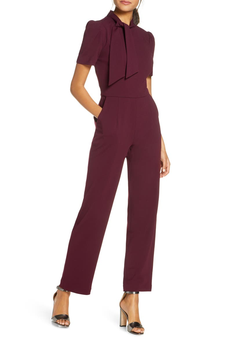 MAGGY LONDON Tie Neck Crepe Jumpsuit, Main, color, PORT WINE