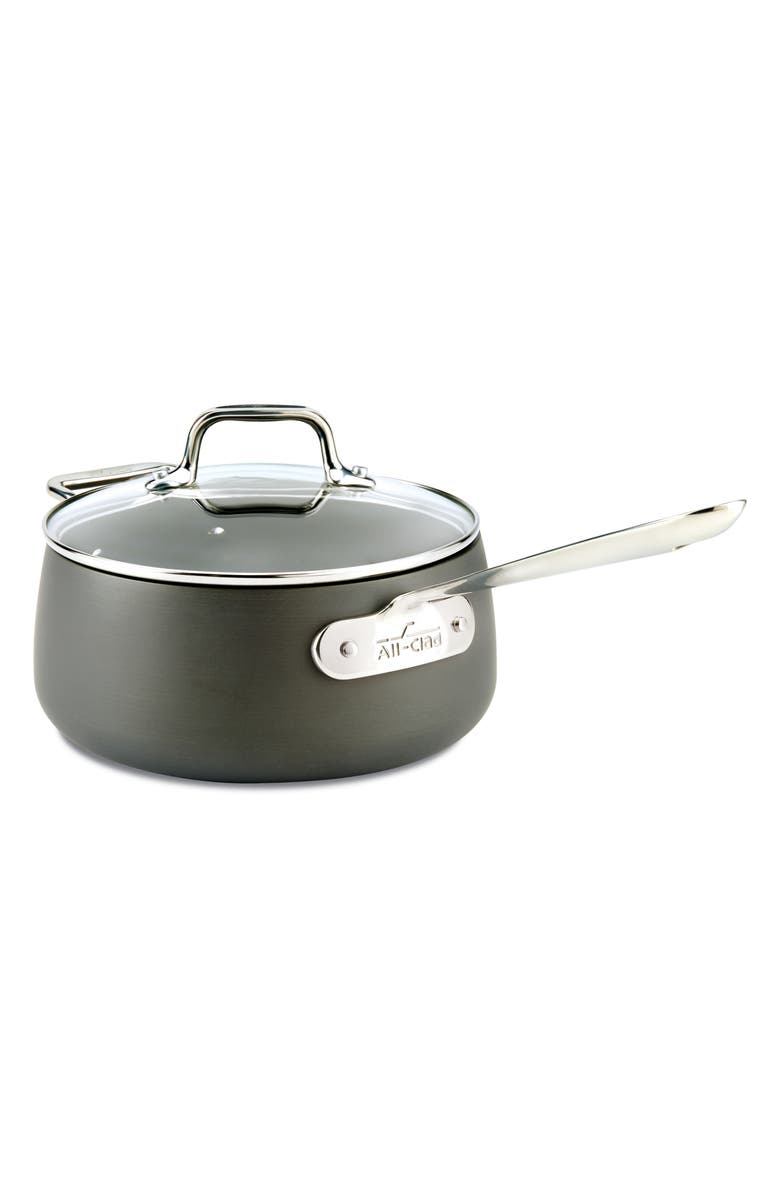 ALL-CLAD HA1 Hard Anodized 3.5-Quart Nonstick Saucepan with Lid, Main, color, BLACK