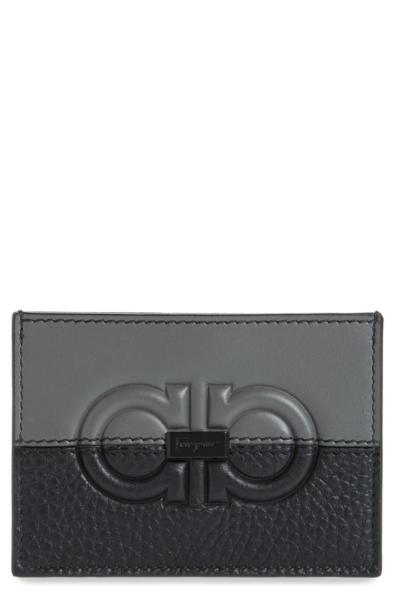 SALVATORE FERRAGAMO Firenze Debossed Bicolor Leather Card Holder, Main, color, BLACK