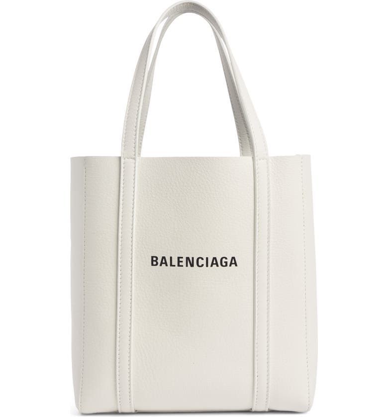 BALENCIAGA Extra Small Everyday Logo Calfskin Tote, Main, color, WHITE/ BLACK