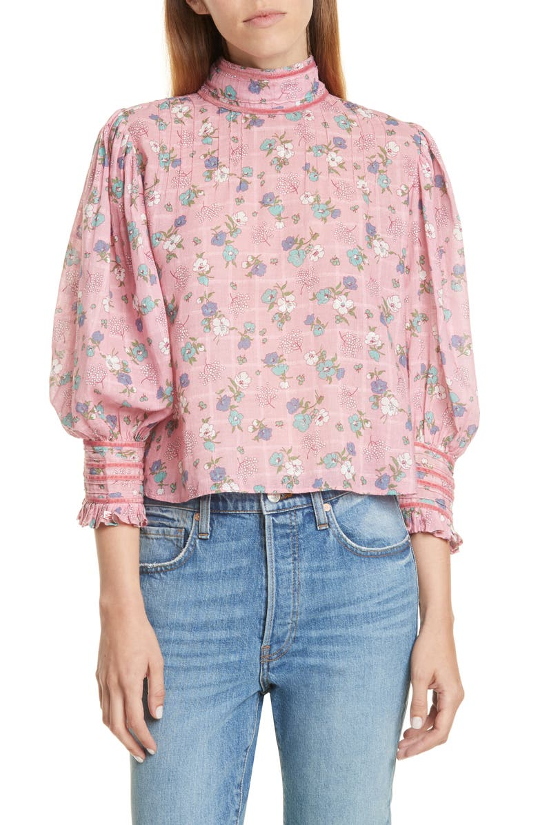 LOVESHACKFANCY Brooke Floral Puff Sleeve High Neck Top, Main, color, 660