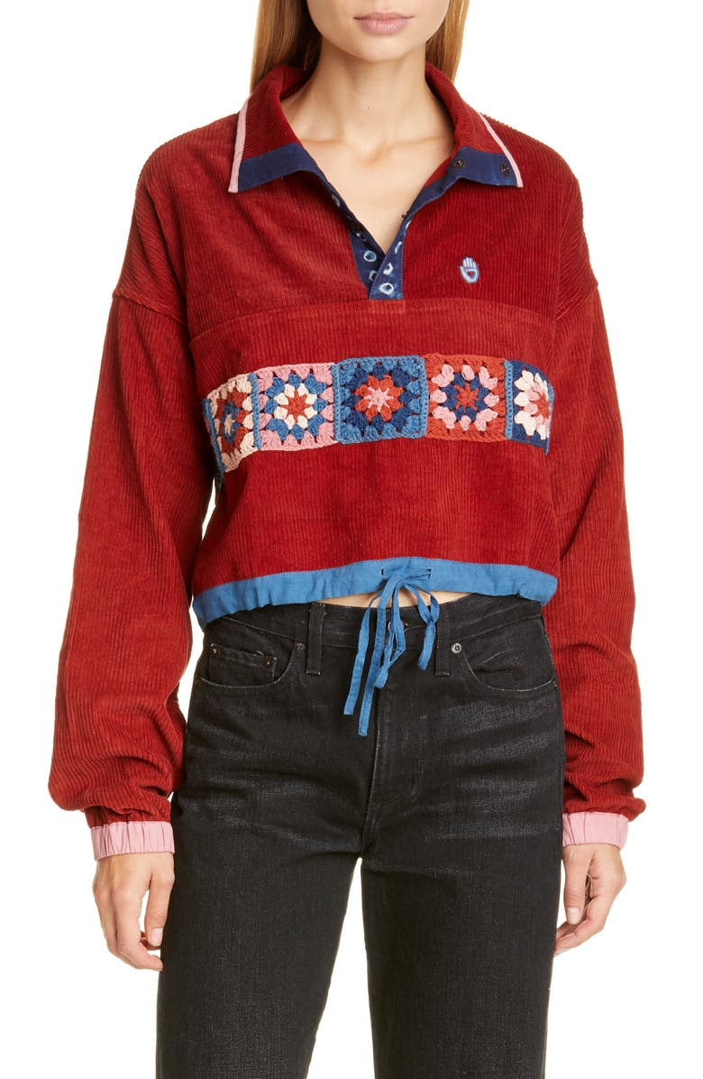 STORY MFG. Polite Crochet Panel Corduroy Crop Pullover, Main, color, ROSE MADDER FAT CORDUROY